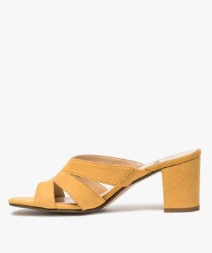 Sandales femme mules à talon en suédine unie vue3 - GEMO(URBAIN) - GEMO