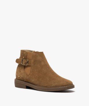 Boots fille style chelsea dessus cuir avec motif étoiles vue2 - GEMO (ENFANT) - GEMO