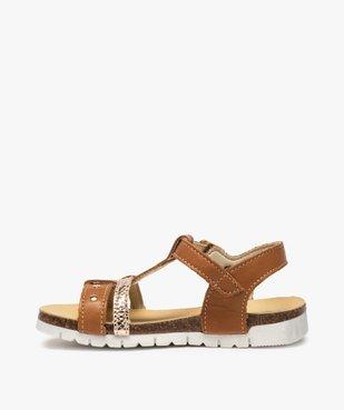 Sandales fille dessus cuir à semelle contrastante - Bopy vue3 - BOPY - GEMO