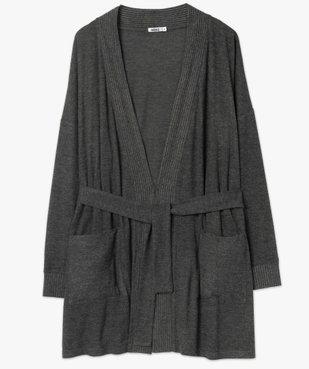 Veste d'intérieur femme en maille duveteuse avec ceinture à nouer vue4 - GEMO(HOMWR FEM) - GEMO