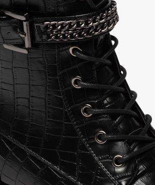 Boots femme unis à talon plat imitation croco style rock vue6 - GEMO (CASUAL) - GEMO