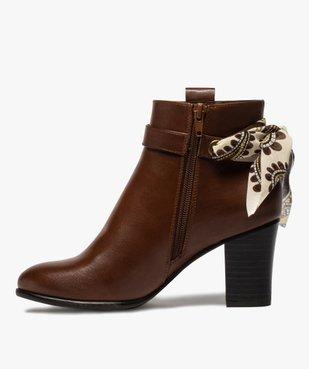 Boots femme unis à talon rainuré et ruban fantaisie vue3 - Nikesneakers(URBAIN) - Nikesneakers