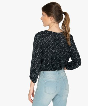 Tee-shirt femme à manches longues avec col fantaisie et boutons vue3 - GEMO(FEMME PAP) - GEMO