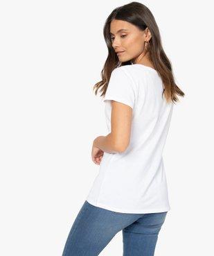 Tee-shirt femme uni à col rond 100% coton biologique vue3 - GEMO C4G FEMME - GEMO