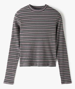 Tee-shirt fille rayé à manches longues et col montant vue1 - GEMO C4G FILLE - GEMO