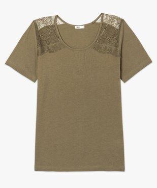Tee-shirt femme à manches courtes avec épaules en dentelle vue4 - GEMO (MAILLE) - GEMO