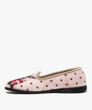 Chaussons femme slippers en velours imprimé bouledogue vue3 - GEMO(HOMWR FEM) - GEMO