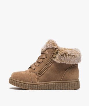 Boots fille zippées dessus suédine et col fourrure imitation  vue3 - GEMO (ENFANT) - GEMO