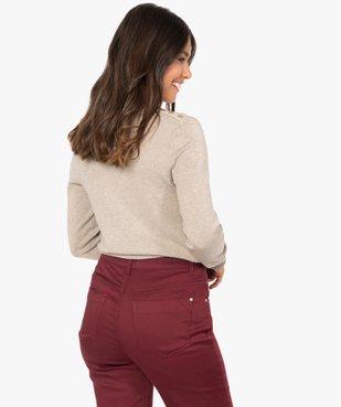 Pull femme en maille fine à col rond et boutons sur les épaules vue3 - GEMO(FEMME PAP) - GEMO