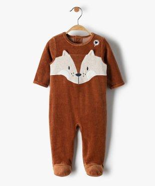 Pyjama bébé garçon en velours avec motif renard vue1 - GEMO(BB COUCHE) - GEMO