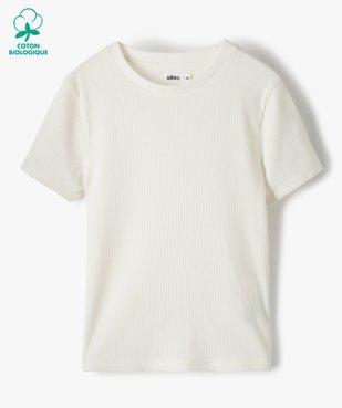 Tee-shirt fille en maille côtelée à manches courtes  vue1 - GEMO C4G FILLE - GEMO