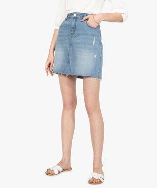 Jupe femme en jean avec marques d'usure vue1 - GEMO(FEMME PAP) - GEMO