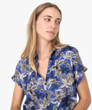 Chemise femme imprimée à manches courtes et bas élastiqué vue2 - GEMO(FEMME PAP) - GEMO