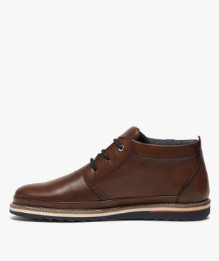 Boots homme lacés en cuir souple et semelle sport vue3 - GEMO(URBAIN) - GEMO