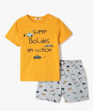 Pyjashort garçon bicolore avec motifs voitures vue1 - GEMO (ENFANT) - GEMO
