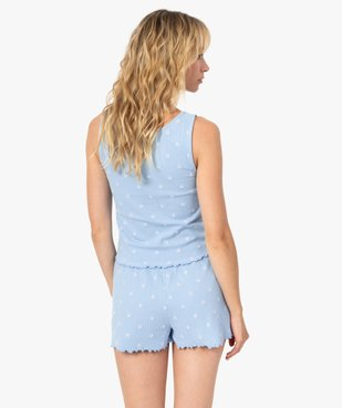 Haut de pyjama femme forme débardeur fleuri - LuluCastagnette vue3 - LULUCASTAGNETTE - GEMO