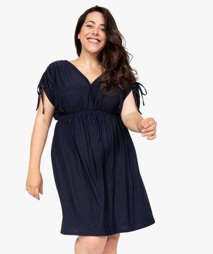 Robe femme courte effet drapé à manches modulables vue1 - GEMO (G TAILLE) - GEMO