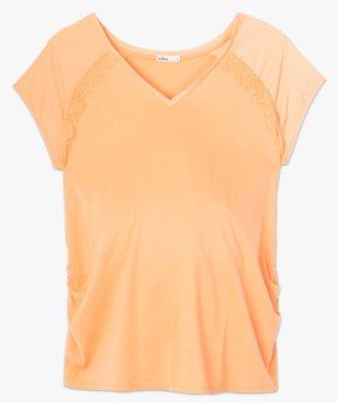 Tee-shirt de grossesse à manches courtes satinées et dentelle vue4 - GEMO (MATER) - GEMO