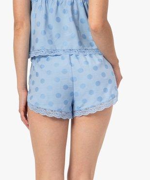 Bas de pyjama femme coupe short à pois et dentelle - LuluCastagnette vue3 - LULUCASTAGNETTE - GEMO