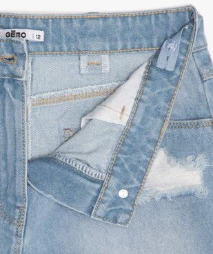 Jupe fille en jean effet patiné et bord-franc vue3 - GEMO (JUNIOR) - GEMO