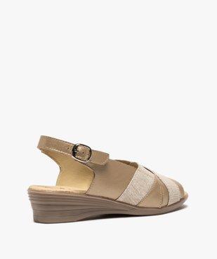 Sandales femme confort en cuir avec détails brillants vue4 - GEMO (CONFORT) - GEMO