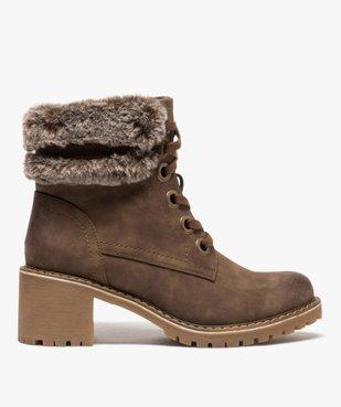 Boots femme à col duveteux, talon carré et semelle crantée vue1 - GEMO(URBAIN) - GEMO