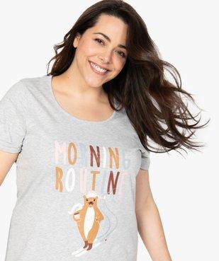 Chemise de nuit femme à manches courtes avec motif vue5 - GEMO(HOMWR FEM) - GEMO
