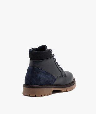 Boots garçon avec dessus cuir uni et semelle crantée vue4 - GEMO - GEMO