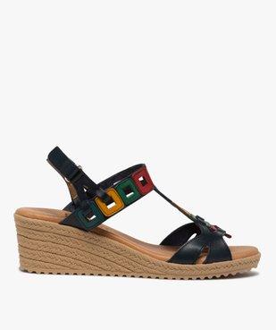 Sandales femme à talon compensé et brides en cuir colorées vue1 - GEMO(URBAIN) - GEMO