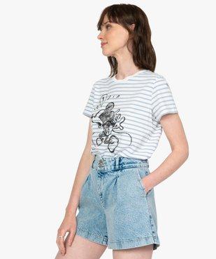 Tee-shirt femme rayé motif Mickey - Disney vue2 - DISNEY DTR - GEMO