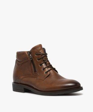 Boots homme zippés dessus cuir uni fermeture lacets vue2 - GEMO (CASUAL) - GEMO