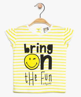 Tee-shirt bébé fille à rayures et manches volantées – SmileyWorld vue1 - SMILEY - GEMO