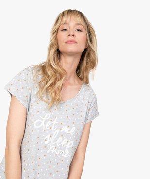 Chemise de nuit femme imprimée à manches courtes vue2 - GEMO(HOMWR FEM) - GEMO