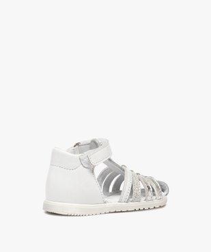 Sandales bébé fille en cuir avec brides métallisées - Bopy vue4 - BOPY - GEMO