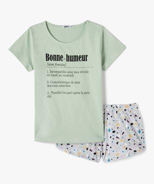 Pyjashort fille bicolore avec inscription vue1 - GEMO (JUNIOR) - GEMO