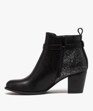Boots femme à talon dessus multi-matières vue3 - GEMO(URBAIN) - GEMO