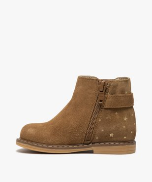 Boots bébé fille zippées style chelsea dessus cuir retourné vue3 - GEMO(BEBE DEBT) - GEMO