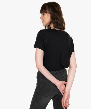 Tee-shirt femme à manches courtes et grand col V vue3 - GEMO(FEMME PAP) - GEMO