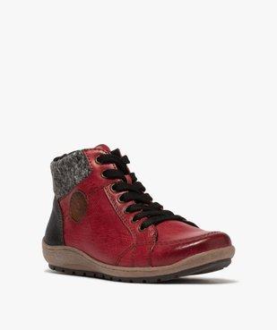 Boots femme à lacets et zip col en maille – Softrelax vue2 - SOFTRELAX - GEMO