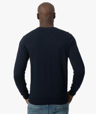 Pull homme à col V 100% coton biologique vue3 - GEMO C4G HOMME - GEMO