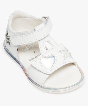 Sandales bébé fille en cuir avec étoiles et cœur vue5 - GEMO(BEBE DEBT) - GEMO