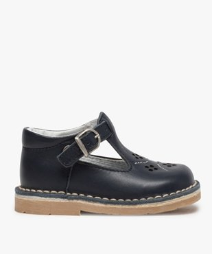 Chaussures bébé garçon ouvertes dessus et intérieur cuir vue1 - GEMO(BEBE DEBT) - GEMO