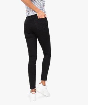 Pantalon femme en toile extensible coupe slim taille haute vue3 - GEMO (JEAN) - GEMO
