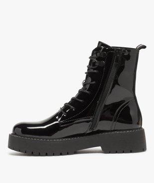 Boots femme vernis à lacets et semelle crantée vue3 - GEMO (CASUAL) - GEMO