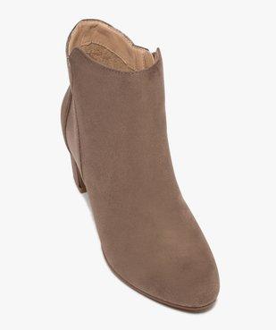 Boots femme à talon unis dessus suédine et textile brillant vue5 - GEMO(URBAIN) - GEMO