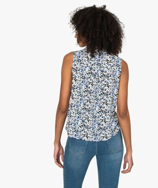 Blouse femme sans manches imprimée avec col chemise vue3 - GEMO(FEMME PAP) - GEMO