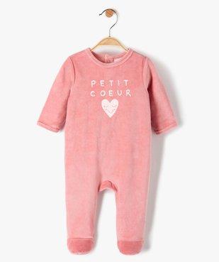 Pyjama bébé fille en velours avec inscription sur le buste vue1 - Nikesneakers(BB COUCHE) - Nikesneakers