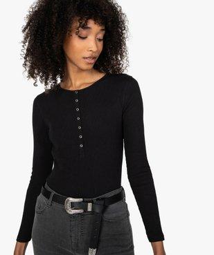 Tee-shirt femme à manches longues en maille côtelée vue2 - GEMO(FEMME PAP) - GEMO