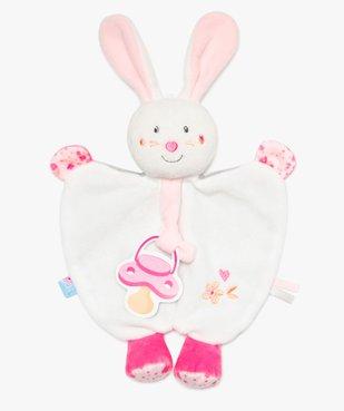Doudou bébé fille forme lapin avec attache tétine - Sucre d'Orge vue1 - SUCRE D'ORGE - GEMO