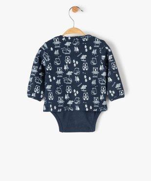 Body bébé à manches longues effet tee-shirt vue4 - GEMO(BB COUCHE) - GEMO